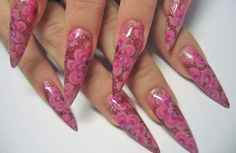 pink pointed nail design