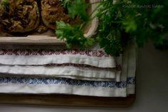Red Cross Stitch Embroidery. Linen Tea Towel by KnockKnockLinen