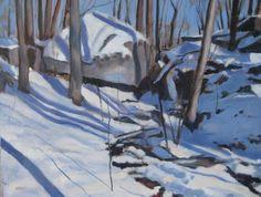 Winter Rivulet. Oil painting by Peter Barnett.
