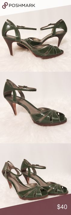 """⭐️ Ann Taylor Dark Olive Patent Leather Heels Pop of color!  Dark olive with cream topstitching details, peep toe, ankle strap.  Leather upper and soles, wooden heels. 1/2"""" platform 4"""" heels. Worn twice Ann Taylor Shoes Heels"""