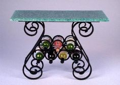 J. Getzan Dollhouse Miniatures Wrought Iron Wine Racks and Tables