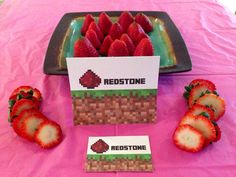 Minecraft Party Redstone Food Sign Tent and Topper Labels for Birthday Party Favors on Etsy, $4.00