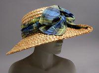 c. 1909 Artist/maker unknown, American. Worn by Mrs. Charles Stewart Wurts II, American, 1870 - 1953. Braided straw, silk ribbon