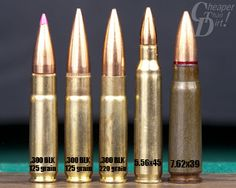 .300 BLK cartridges compared with 5.56 and 7.62x39