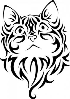 Tribal cat face - for some reason I like this :) Cat Vector, Vector Art, Cat Clipart, Stencils, Cat Tattoo Designs, Cat Silhouette, Silhouette Vector, Scroll Saw Patterns, Cat Drawing