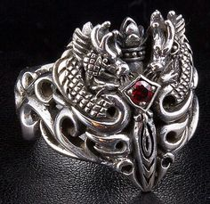 Gothic Dragon Ring | Garnet Medieval Dragon Silver Mens Rings.