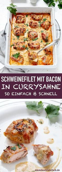 Pork fillet with bacon in curry cream Pork fillet with bacon in curry cream www.emmikochtinf The post Pork fillet with bacon in curry cream appeared first on Star Elite. Wrap Recipes, Pizza Recipes, Pork Recipes, Sausage Recipes, Baking Recipes, Healthy Recipes, Pork Fillet, Lard, Good Food