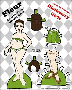 Meet Fleur, Dictionary Girl Paper Dolls. Lots of free printable paper dolls with great outfits on this site