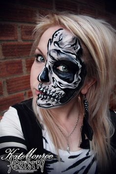 Skull face paint body art