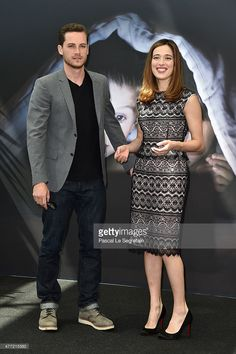 Jesse Lee Soffer and Marina Squercati attend a photocall for the 'Chicago PD' TV series on June 15, 2015 in Monte-Carlo, Monaco.