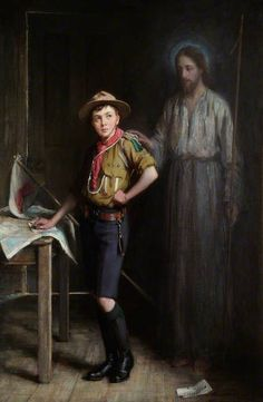 The Pathfinder by Ernest Stafford Carlos in the early depicting one of the earliest boy scouts Foulard Scout, Boy Scouts, Girl Scout Sash, Wood Badge, Norman Rockwell Paintings, Baden Powell, Propaganda Art, Boys Life, Eagle Scout