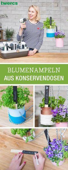 Frühlings-DIYs mit Twercs: Baue eine Blumenampeln aus Konservendosen, Upcycling / upcycling diy: turn old cans into a hanging plant basket via DaWanda.com