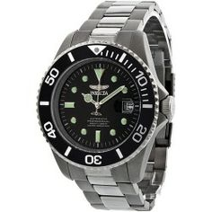 Buy Invicta Pro Diver Automatic Titanium Mens Watch 0420 online - Titanium case with a titanium bracelet. Unidirectional black PVD bezel. Black dial with silver-tone hands and dots indexes triangle hour markers. Minute markers around the outer rim. Dial Type: Analog. Luminescent hands and markers. Date display at...