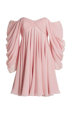 Giambattista Valli Georgette Off-The-Shoulder Dress Fashion Bella, Pink Fashion, 90s Fashion, Womens Fashion, Casual Dresses, Short Dresses, Royal Dresses, Kpop Fashion Outfits, Fashion Design Sketches