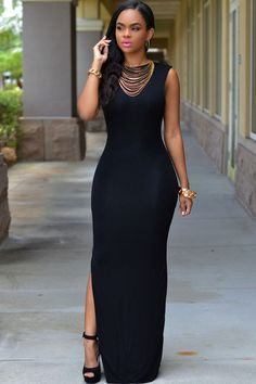 Low V Back Black Slit Her Maxi Dress