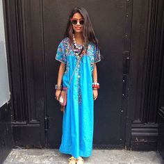 31 Flawless Outfits To Copy This July #refinery29  http://www.refinery29.com/july-outfit-of-the-day-ideas#slide-1  For the girl who hates dresses: Go for a caftan-style number, preferably one with a fun print or one in a bright, bold hue. Don't be afraid to go wild on the accessories (like Arpana Rayamajhi's hand-crafted statement necklaces), either.