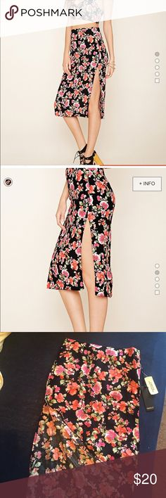🍂72HR SALE🍂 👑HP!NWT Slit Floral Print Skirt Never worn! No trades. Forever 21 Skirts Midi