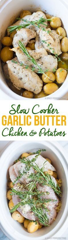 Cozy Slow Cooker Garlic Butter Chicken and Potatoes | http://ASpicyPerspective.com
