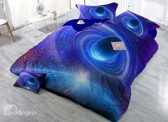 Shining Blue Planet Digital Print 4-Piece Cotton Duvet Cover Sets