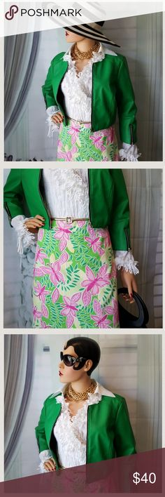 Lilly Pulitzer Flirty Butterfly Skirt Size 0 Very good pre-owned condition. Fully lined. Lace hem. Back zipper and pocket with button closure. Note: photo's are a part of the description. Lilly Pulitzer Skirts