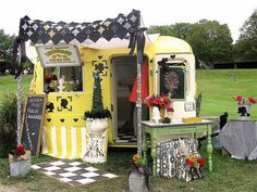 Glamping! *Via: The Road To Glamperland on fb :)  Adorable lemonade stand in a camper trailer!  Shabby chic decor