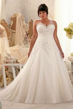 A Line Sweetheart Court Train Tulle Fabric Plus Size Wedding Dresses With Appliques Beading Pw50566