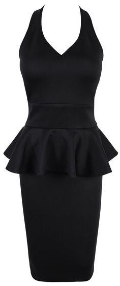 """Cindy"" Black Peplum Halter Dress.  Adorable, and I love the peplum!"