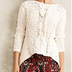 Anthropologie Sweater Anthropologie Moth sweater. Worn once, perfect condition. Fits more like a small than XS.  This is a beautiful sweater! Anthropologie Sweaters Crew & Scoop Necks