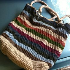 Got this huge crocheted tote bag at a church white elephant tent. $3 for everything you could pack into a box.