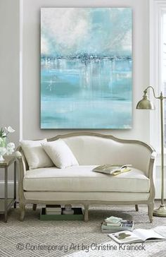 """Art Blue Abstract Painting """"Seaglass"""" Canvas Print Wall Art of Contemporary Art Abstract Painting Light Blue Sea Foam Green Aqua Grey White LARGE Canvas Seascape Coastal Wall Art Decor Giclee Print / Canvas Print of Modern, Fine Art, Coastal Abstract Painting. Stunning, as the details and layers of paint seem to take on an almost shimmering quality of light dancing on water that is as smooth as sea glass. Beach Decor, Home Decor neutral living room, Interior design. Artist, Christine…"""
