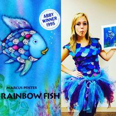 DIY, Rainbow fish costume, Rainbow fish, DIY Halloween costume, Halloween, Creative Costume, Work Costume