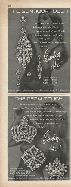 Two Ads For One Price! 1969 EISENBERG ICE Rhinestone Crown Pins Drop Earrings Vintage Costume Jewelry Photo Print  Advertisement