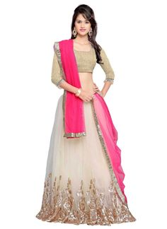 This pretty piece is a fairy tale that begins to unfold as you reveal your beauty in it. Women beauty is magnified tenfold in this alluring cream net a line lehenga choli. The embroidered and resham w...