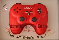 Red Play Station Controller Cake Birthday Party Games For Kids, 10th Birthday Parties, Birthday Ideas, Playstation Cake, Red Play, Cupcake Cakes, Cupcakes, Wedding Events, Weddings