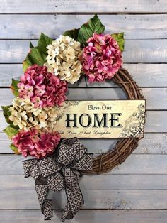 Bless our home hydrangea wreath. Perfect for spring door decor. Available now in my shop: Hydrangea Wreaths, Spring Wreaths - Everyday Wreaths for front door, Outdoor Wreath, Summer Wreath, Pink and Cream by Tea Time Wreaths Diy Spring Wreath, Summer Door Wreaths, Diy Wreath, Holiday Wreaths, Summer Door Decorations, Grapevine Wreath, Outdoor Wreaths, Hydrangea Wreath, Summer Diy