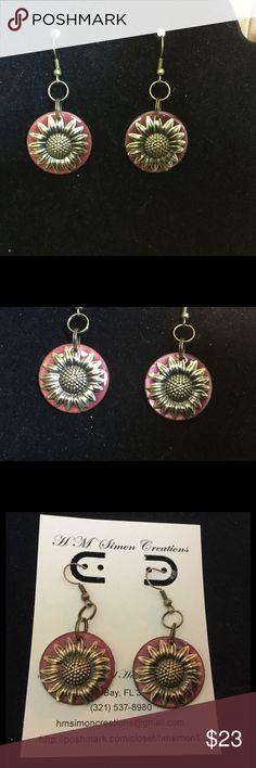 Raspberry Enameled Copper & Brass Earrings A-3-45 Beautiful Raspberry Enamel on copper with brass sunflower findings create these lovely handmade dangle earrings. handmade by HM Simon Jewelry Earrings