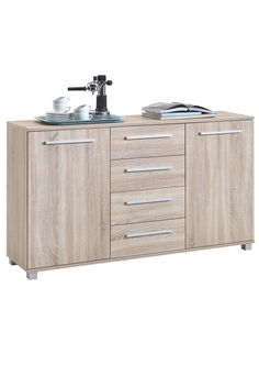 Ria Sideboard In Oak With 2 Doors And 4 Drawers Sideboard Furniture, White Oak, Double Vanity, Drawers, Doors, Contemporary, Bathroom, Storage, Home Decor