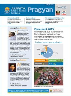 ASB Coimbatore has released its first newsletter 'Pragyan'. The newsletter sheds light into the activities and accomplishments of ASB Coimbatore. Find more - https://www.amrita.edu/admissions/asb-2016/asb-coimbatore-newsletter