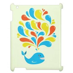 Cute whale iPad case with a cartoon whale splashing bright blue, yellow and orange swirls. This colorful illustration will appeal to kids, animal lovers and to someone who loves whales and cute illustrations.  $48.95 #ipad #ipadcase #whale