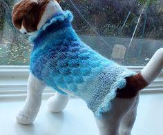 Dog Sweater Hand Knit Aqua Glitter Small 11 inches long by jenya2, $25.99
