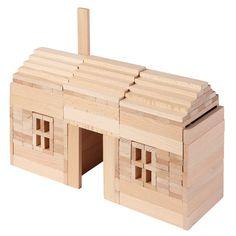 Set van 200 houten bouwplankjes om de leukste en mooiste creaties te bouwen. Inclusief bouw-voorbeelden.