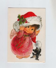 Vintage Little Angel with Santa Claus Hat and Kitten Christmas Greeting Card