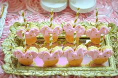 Pink and gold Minnie Mouse birthday party Rice Krispie treats! See more party planning ideas at CatchMyParty.com!