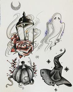 Moonchild Art ghost candle lantern pumpkin witch hat rose tattoo flash art ~A. Future Tattoos, Love Tattoos, Beautiful Tattoos, Body Art Tattoos, Ship Tattoos, Arabic Tattoos, Dragon Tattoos, Ankle Tattoos, Arrow Tattoos