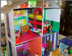 DIY recycle doll house & other buildings from recycled boxes :) Free Patterns