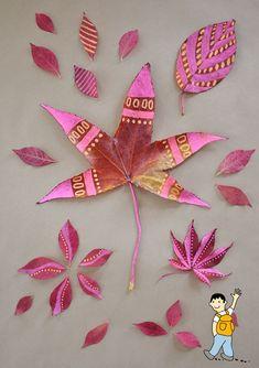 Pintar hojas secas de otoño