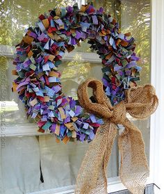 Denim Scrap Wreath ... would be cute for the 4th of July with a bandana bow
