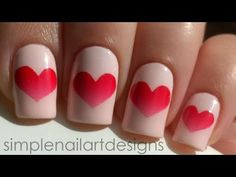 Valentine's Day Heart Nail Art Tutorial! I used tape for the hearts and added a gradient inside, but any nail polish will work also. Hope you like this design and thanks for watching! Let me know what other nail art tutorials you would like to see a video for.    Instagram: simplenailartdesigns  http://www.instagram.com/simplenailartdesigns    Produc...