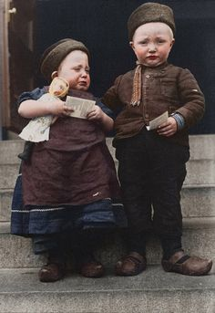 Portrait of Dutch siblings at the Ellis Island Immigration Station, circa 1905.