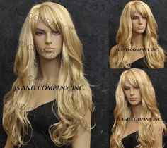 Items similar to Beautiful Long with Natural beachy waves and layered wig in Golden Blonde and Pale Blonde mix Cali Wig on Etsy Pale Blonde, Golden Blonde, Fancy Hairstyles, Wig Hairstyles, Remy Human Hair, Human Hair Wigs, Full Lace Front Wigs, Full Bangs, Beachy Waves